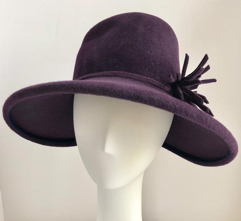 e2893c54f Tall Brim Fedora in Purple with Felt Flower