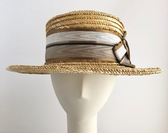 Classic Straw Boater with Tricolor Antique French Ribbon