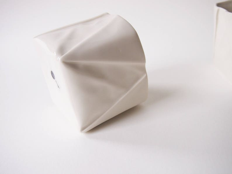 Origami Cup handmade of porcelain tea cup  Coffee Cup in unique Origami design appears like folded paper