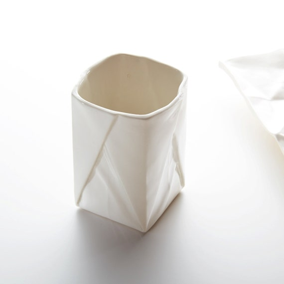 Porcelain Origami dip bowl handmade little bowl for dips and dressings with the look of folded paper.