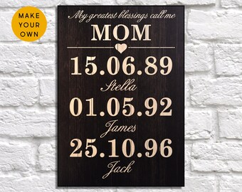 Mothers Day Gift Personalised Mum From Daughter Birthday Son Gifts Panel Effect Wood
