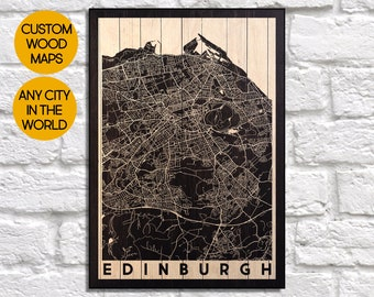 A4 Edinburgh Linocut on Map Victoria Street and Kings StablesPolice Yard black /& white in mount