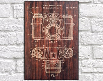 Camera Patent Print Wood Wall Decor Birthday Gift For Brother Men Boyfriend Husband Panel Effect Art