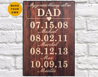 Personalised Fathers Day Gift From Daughter Dad Birthday For Gifts Son Panel Effect Wooden Sign