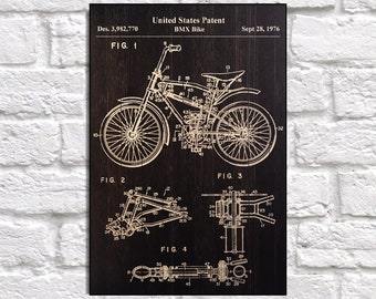 Bike Patent Poster Wood Art Gift For Men Athletic Wall Birthday Boyfriend Cycling Panel Effect Print