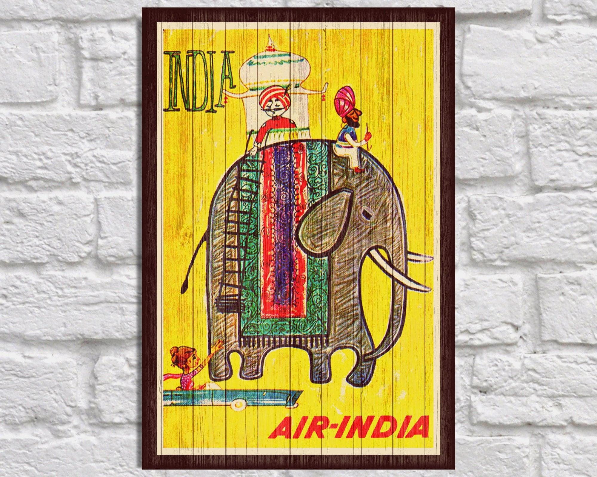 India Travel poster art Vintage Wood wall art Indian art Retro | Etsy