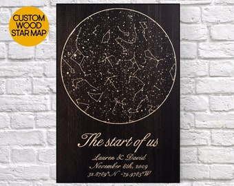 Engagement Gifts For Couple Custom Star Map Bridal Shower Gift Wood Art Wedding Gift For Couple Gifts Wedding Signs Panel Effect Wood Signs