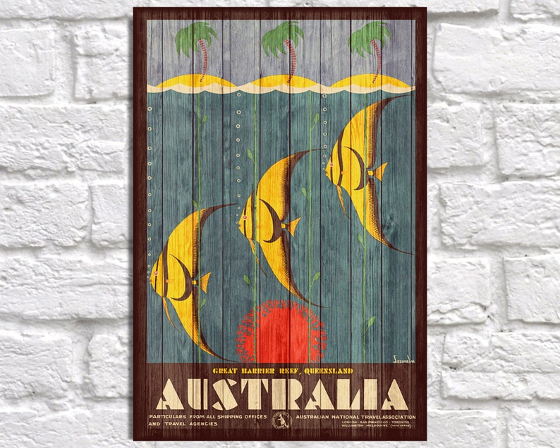 Australia Travel Poster Vintage Wood Wall Art Australia Art Retro Travel Poster Gift For Men Gift For Boyfriend Gift Panel Effect Wood Print