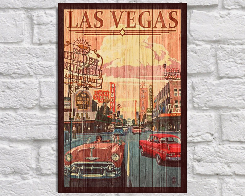 Las Vegas Travel Poster Wood art Las Vegas Vintage Travel poster Travel gift for Men gift for Boyfriend gift for him panel effect Wood print