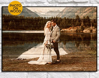 Personalised wedding gifts for couple gift Wedding Photo on wood Unique wedding gift for Couple gift for Bridal shower gift Wood photo frame
