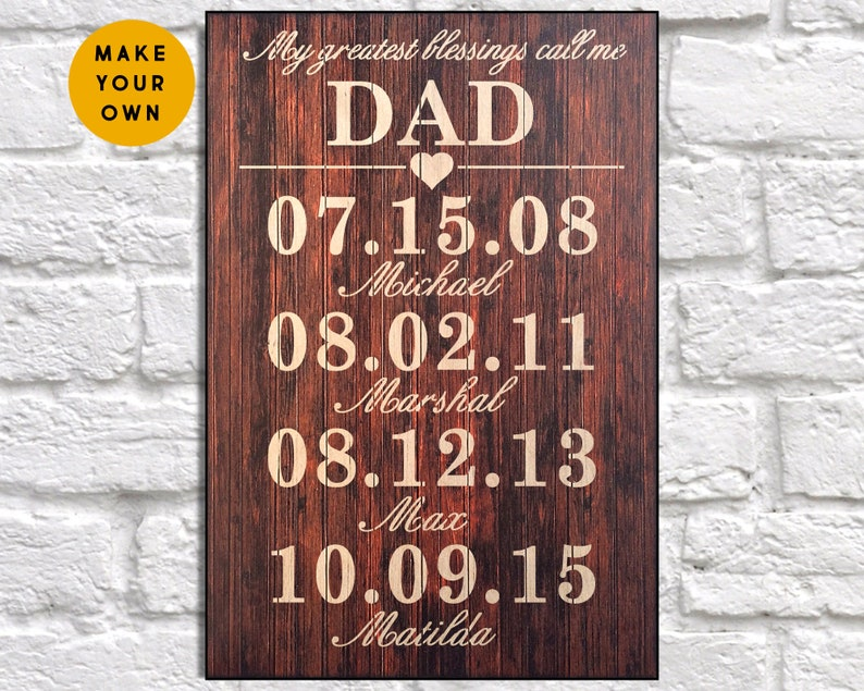 Personalised Fathers Day Gift From Daughter Dad Birthday