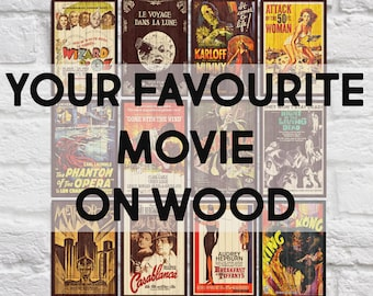 Movie Posters Gifts For Men Gifts For Him Wood Wall Art Mens Gift Boyfriend Birthday Gift For Him Unique Gifts For Men Panel Effect Wood Art