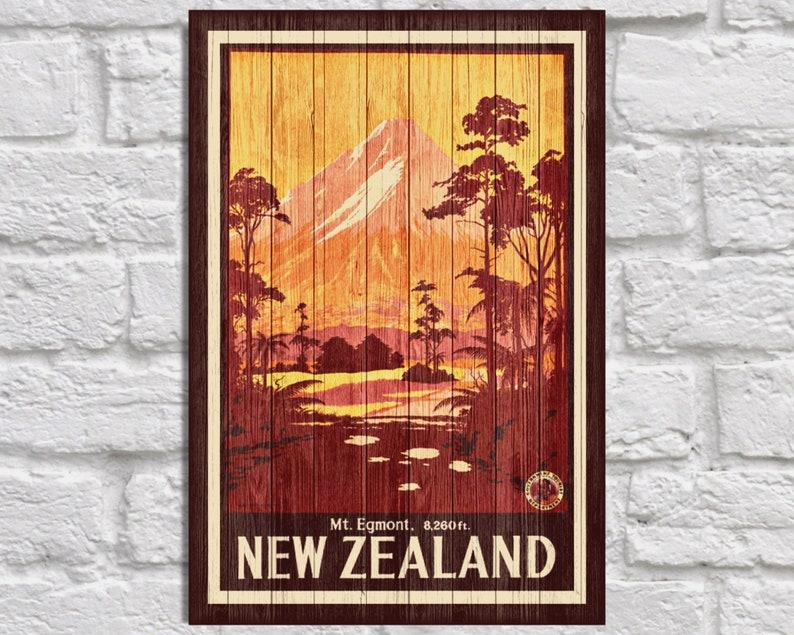 New Zealand Travel Poster Wood Wall Art Decor Retro