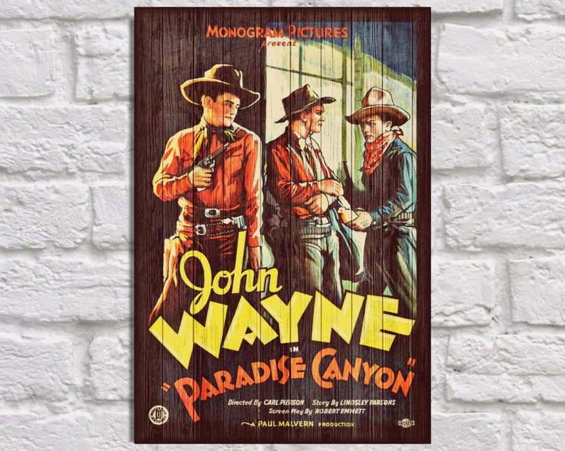 Vintage Movie posters wood wall decor John Wayne Christmas Gifts for  Boyfriend Gift for Men gift for Husband gift for him panel effect art