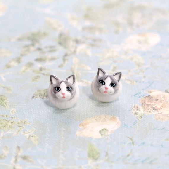 Ragdoll Cat Earrings Cat Stud Earrings Polymer Clay Cat Cat Etsy
