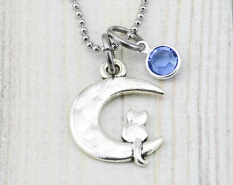 Cat Lover Gift for Her - Cat Necklace - Cat Jewelry - Cat Gift for Girl - Birthday Gift for Daughter - Cat Pendant - Cat Moon Necklace