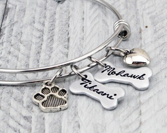 Personalized Pet Jewelry - Dog Lover Gift for Women - Dog Mom Gift - Dog Jewelry - Dog Bracelet for Women - Dog Bone Bracelet - Dog Gift