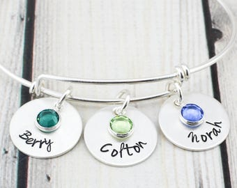 Sterling Silver Personalized Bracelet for Women - Personalized Jewelry - Mom Bracelet with Kids Names - Grandma Bracelet - Gift for Mom