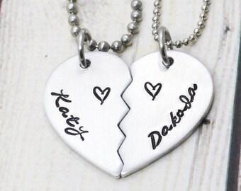 Split heart necklace etsy personalized couple jewelry couple necklace set broken heart necklace half heart necklace aloadofball Gallery