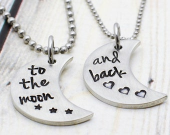 9a677e02a0 Hand Stamped Couples Necklace Set - Boyfriend Girlfriend Necklace for  Couples - Matching Couple's Jewelry - Anniversary Gift for Her