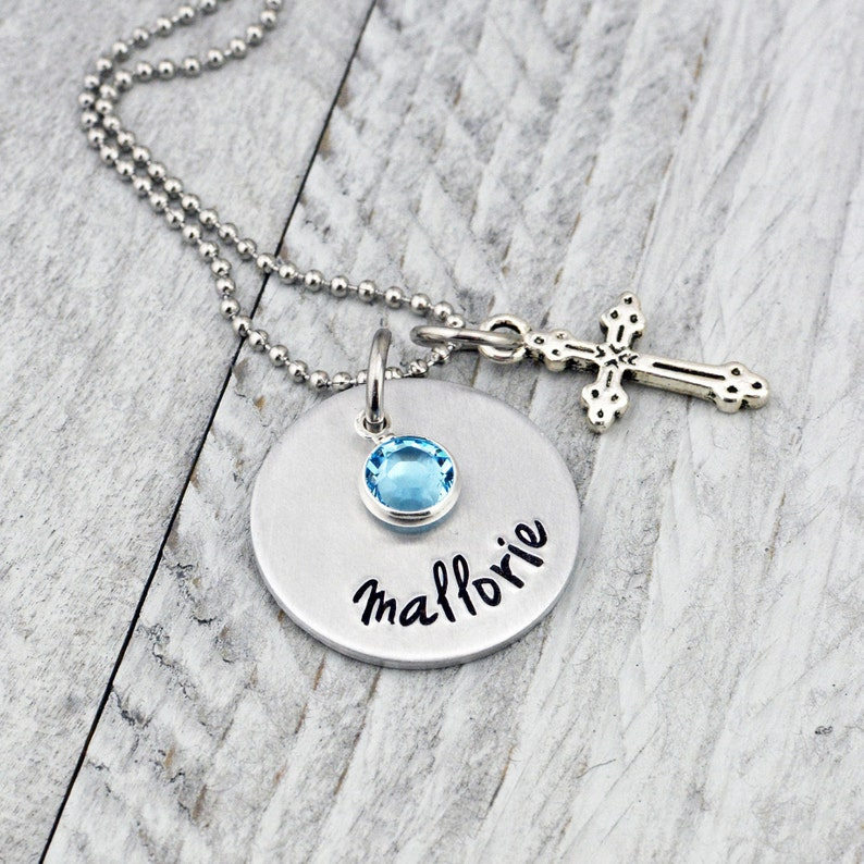 Grabado Cruz de Plata Collar Personalizado para Bautismo,Bautizo,Comunión