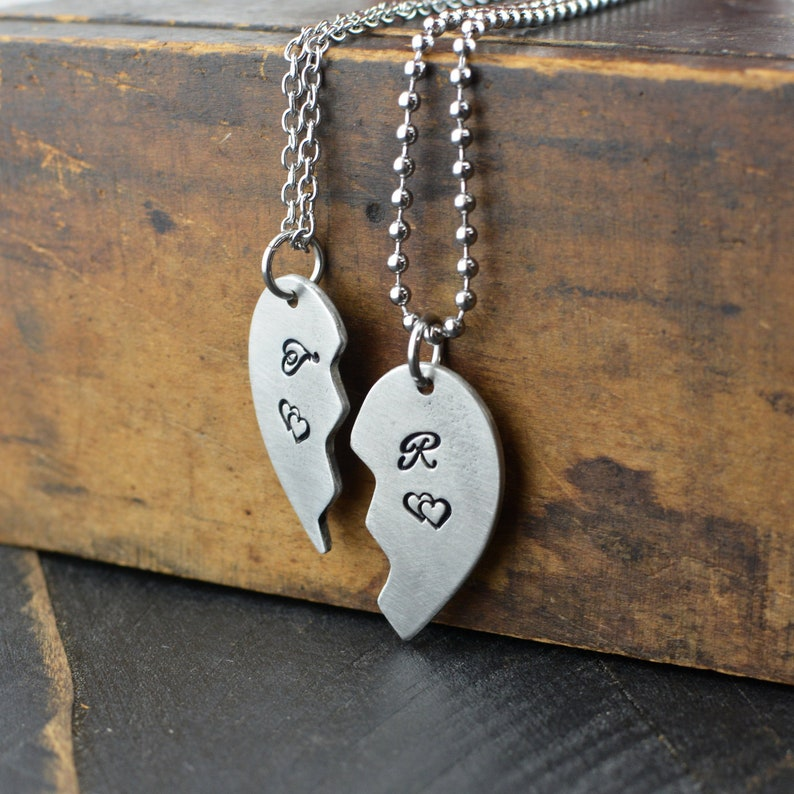 99833ea43a Hand Stamped Couples Half Heart Necklace Set Anniversary | Etsy
