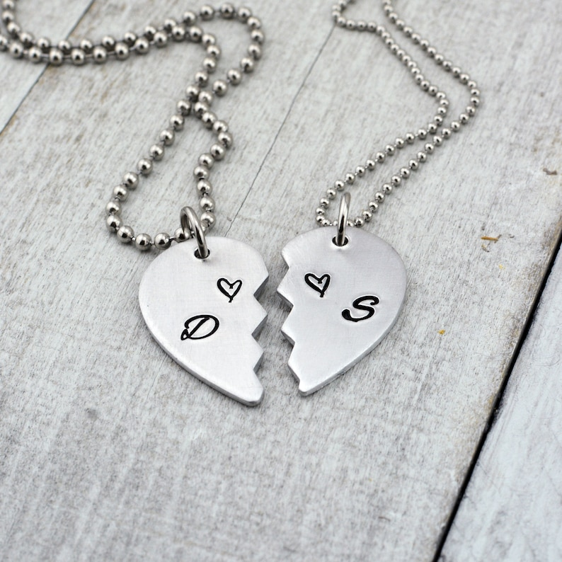 d28f4f9994 Personalized Half Heart Couples Necklace Set Anniversary | Etsy