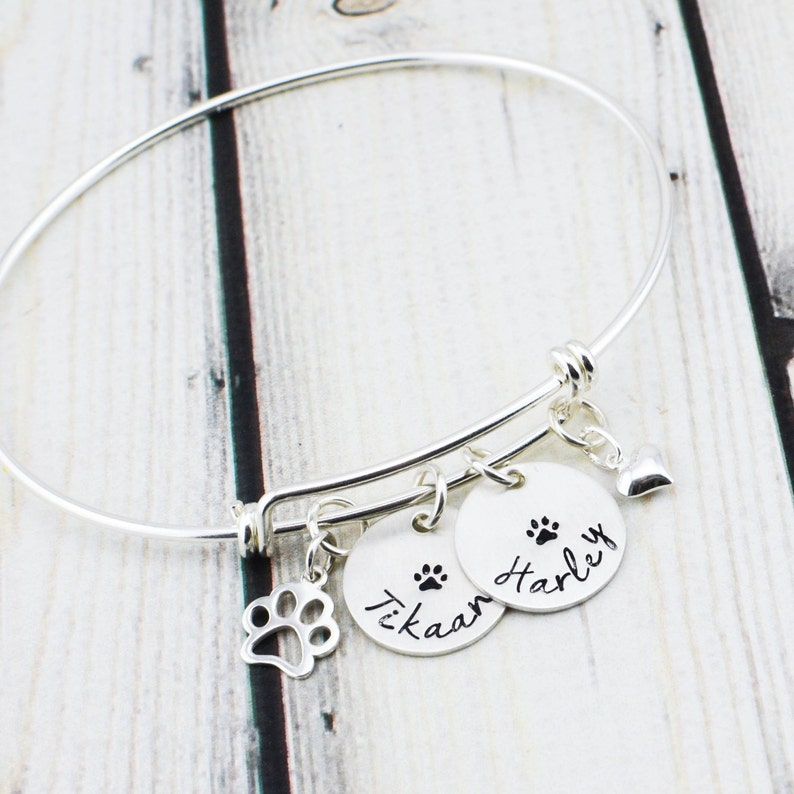 7a381f2db604c Sterling Silver Paw Print Pet Jewelry - Dog Lover Gift - Cat Jewelry - Pet  Memorial Bracelet