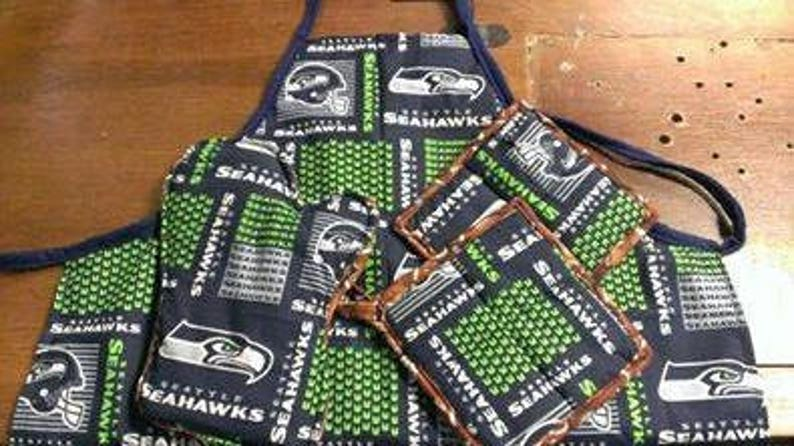 0ac11f16 Custom Handmade NFL Seattle Seahawks Cooking Accessories. Adult & Kids.  Apron/ Oven Mitt/ 2 Square Potholders/ Chef Hat. Team Mom Gift.