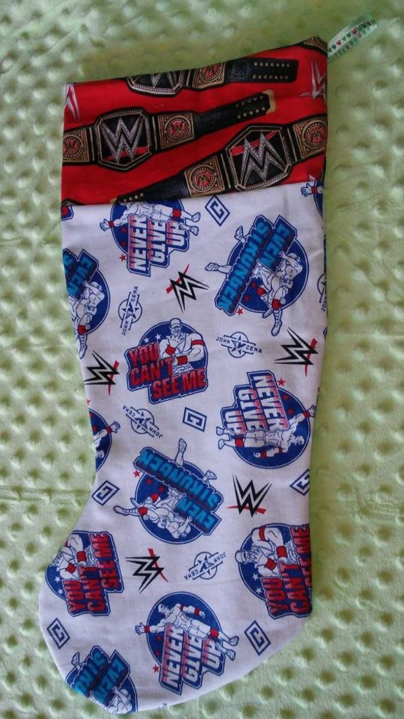 Handmade,John Cena,Christmas Stocking,WWE,Championship Belt,Fan Gift,Wall Art,WWE Gift,Holiday Gift,Can/'t See Me,Stockings,Customized,Gift