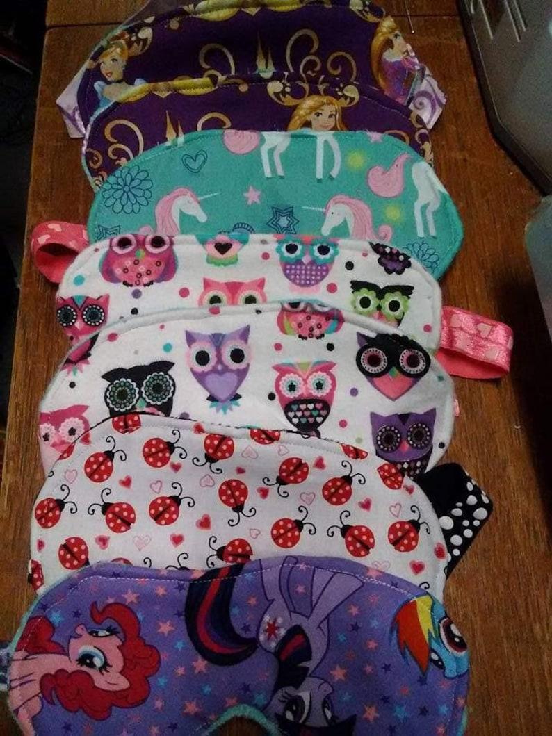 Rainbow Owl Eye Mask Handmade Party Favor Spa Gift Migraine Relief Slumber Basket Filler Consultant Travel Teal Purple
