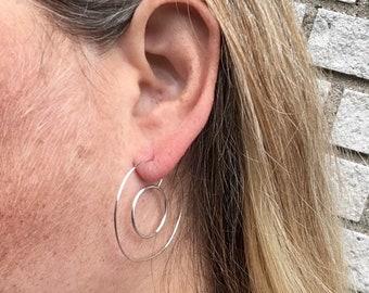 Double hoop earrings,big circle earrings, bangle silver earrings,Silver drop earrings