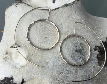 Big hoop earrings,hoop silver earrings, bangle silver earrings,Silver drop earrings