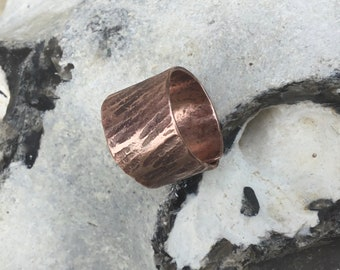Copper viking ring,hammered copper ring,brutalist copper ring,Wide band copper ring,Thumb copper ring