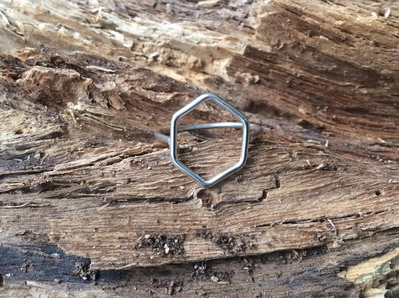 897e405b8 Silver ring.Hexagon Ring.Unisex Ring.Women ring. Ring.Six | Etsy
