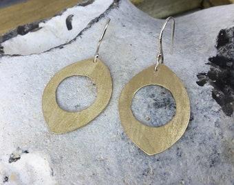 Disk brass earrings,brass hoops, Dangle brass earrings,Big earrings,Pendant earrings