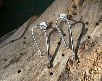 Silver drop earrings,Drop silver studs,twisted earrings,Infinity earrings,
