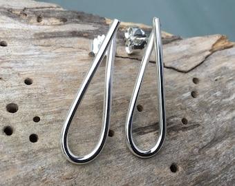 Silver drop earrings,Drop silver studs, swirl silver studs,teardrop silver earrings,twisted silver earrings,Infinity earrings