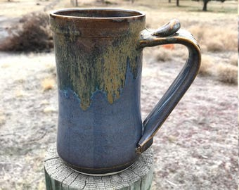 20 Ounce Pottery Black, Blue and Bronze Beer Stein - Beer Mug - Wheel Thrown Beer Stein - Blue Beer Stein - Best Man Beer Stein