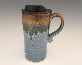 Handmade Travel Mug With Lid - Blue and Bronze Commuter Cup -  Travel Coffee Mug - Porcelain Travel Mug - Pottery Mug - Ceramic