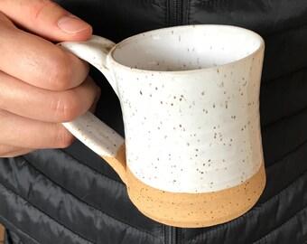 Gloss White Coffee Mug - Tea Mug  Hot Chocolate Mug Pottery Mug Earthy Mug Ceramic White Pottery Mug Unique Mug