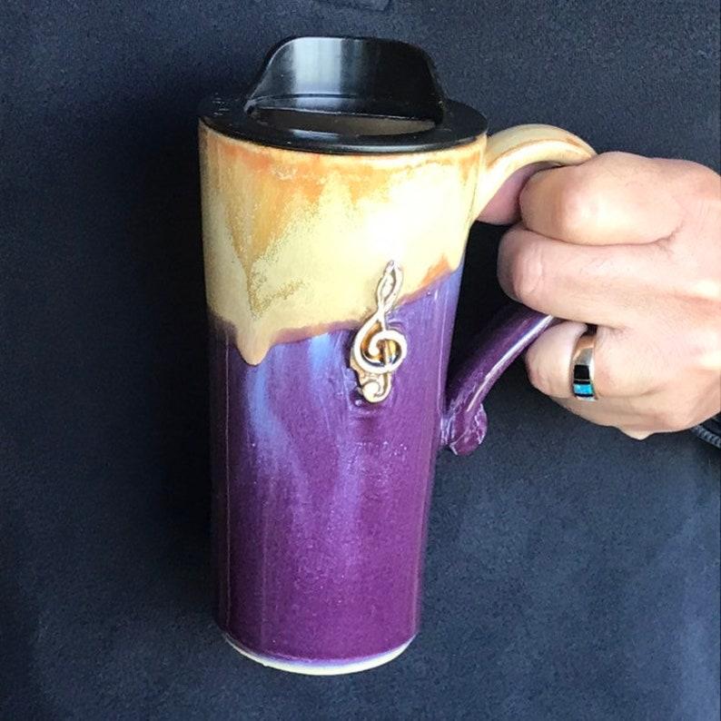 Travel Coffee Cup Pottery Mug Gold and Purple Handmade Travel Mug With Lid Commuter Pottery Mug Travel Coffee Mug