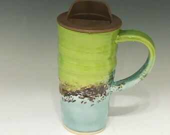Hand Carved Travel Mug  Pottery Travel Mug - Ceramic Travel Mug - Oversized Travel Mug - Handmade Travel Mug - Travel Mug