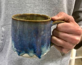 Father's Day Drippy Blue Coffee Mug - Tea Mug  Hot Chocolate Mug Pottery Mug Earthy Mug Ceramic Black Mug Pottery Mug Unique Mug