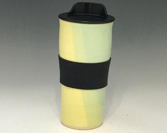 Handmade Green and Yellow Travel Mug With Lid - Travel Coffee Cup - Porcelain Travel Mug - Pottery Travel Mug -