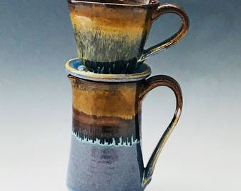 Blue and Bronze Pour Over Coffee Maker and Pitcher /Brewer - Pour Over Cone Coffee Maker - Drip Coffee Maker - Pottery Pour Over Coffee