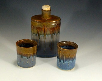 Blue and Bronze Whiskey Flask and Cups - Pottery Flask - Best Man Flask - Groomsmen Flasks - Ceramic Flask - Unique Flask - Hip Flask