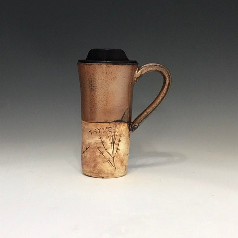 Mug Ceramic Travel With Copper 16 Ounce Coffee Commuter Pottery Lid Cup f76yvIYbg