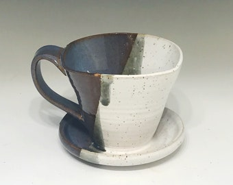 Blue and White Pour Over Coffee Maker Brewer - Pour Over Cone Coffee Maker - Drip Coffee Maker - Pottery Pour Over Coffee Maker