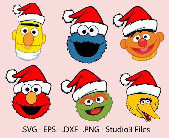 Sesame Street Christmas Face Designs Elmo Cookie Monster Oscar Ernie Beto And Big Bird Vectors Cuttable Files